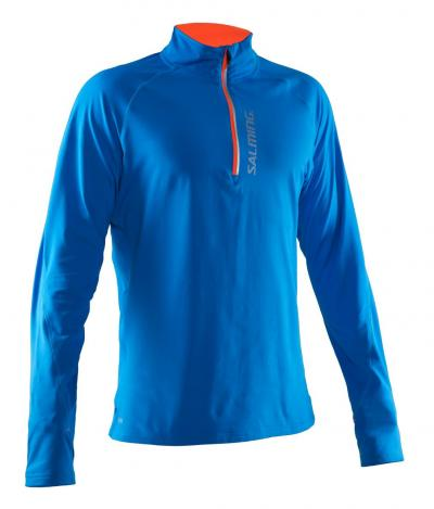 Salming Halfzip LS Tee Men Electric Blue
